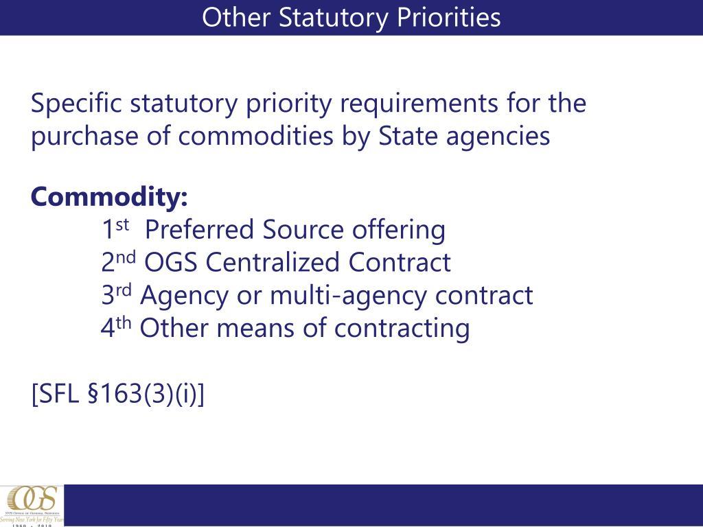 Other Statutory Priorities