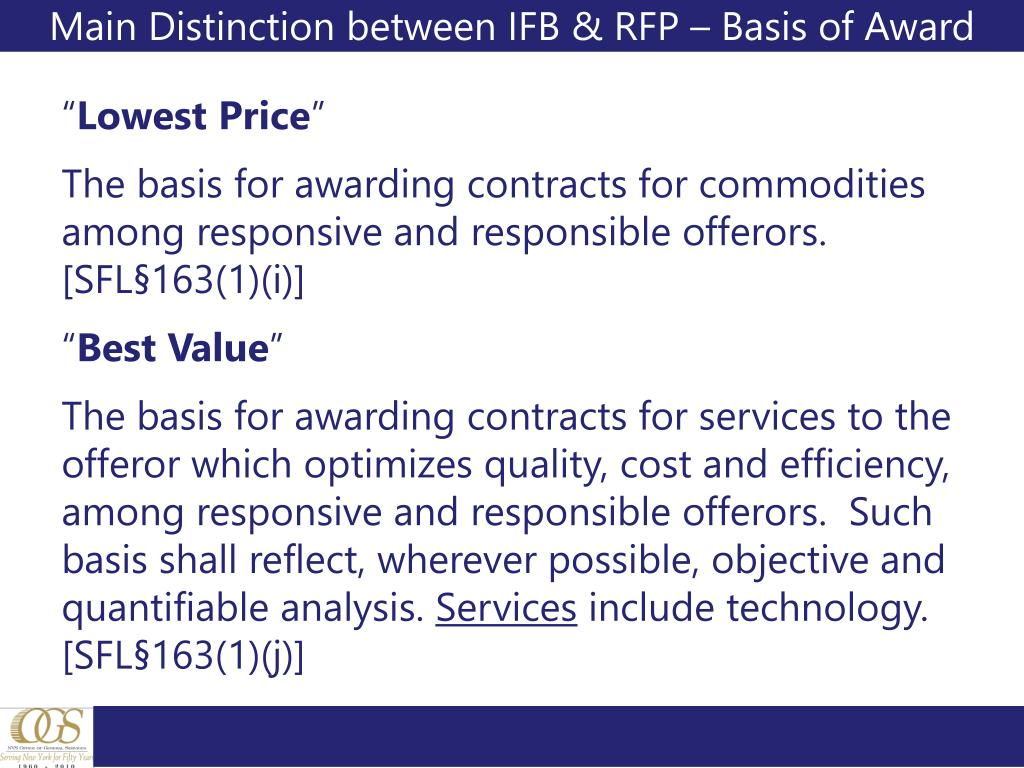 Main Distinction between IFB & RFP – Basis of Award
