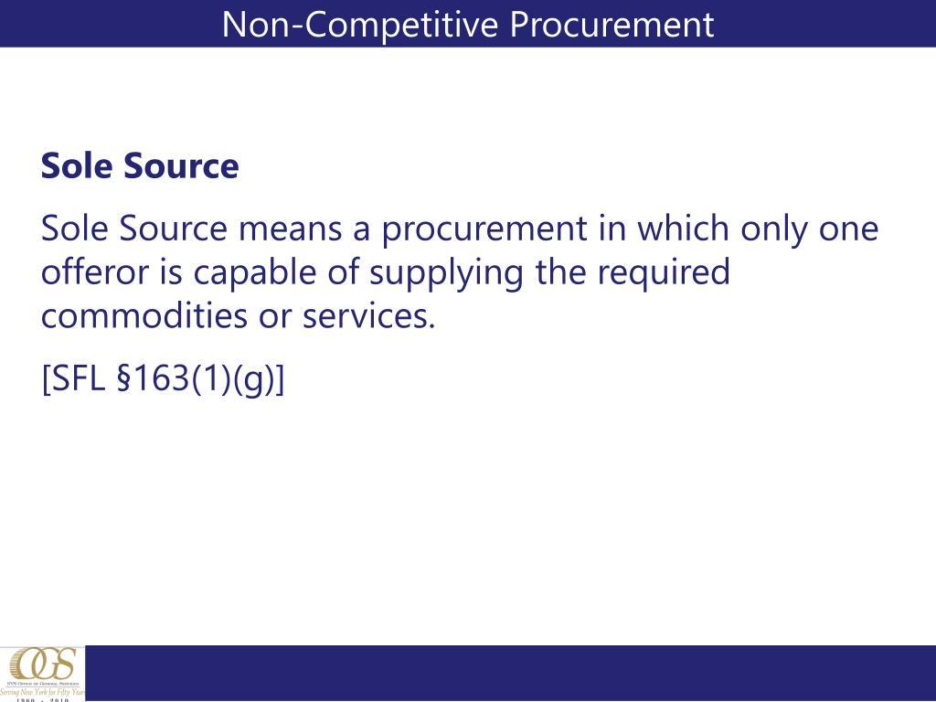 Non-Competitive Procurement