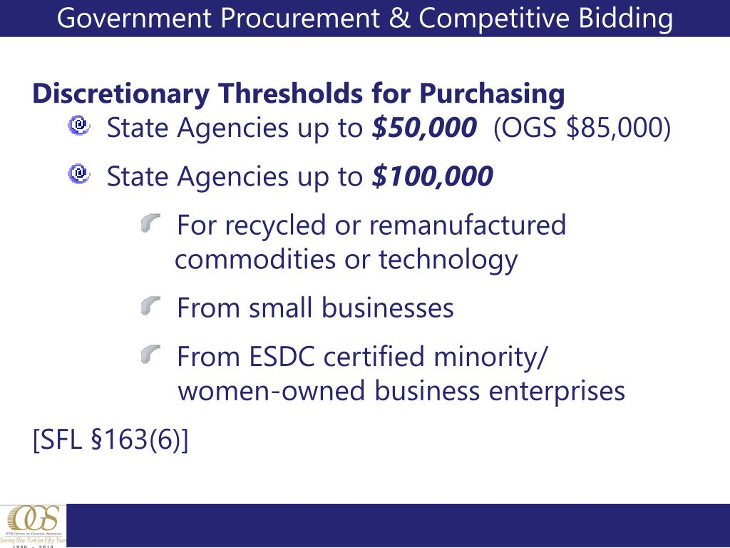 Government Procurement & Competitive Bidding