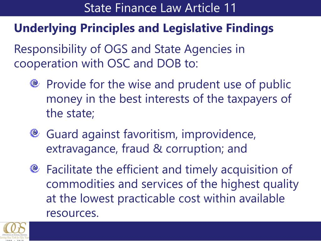 State Finance Law Article 11