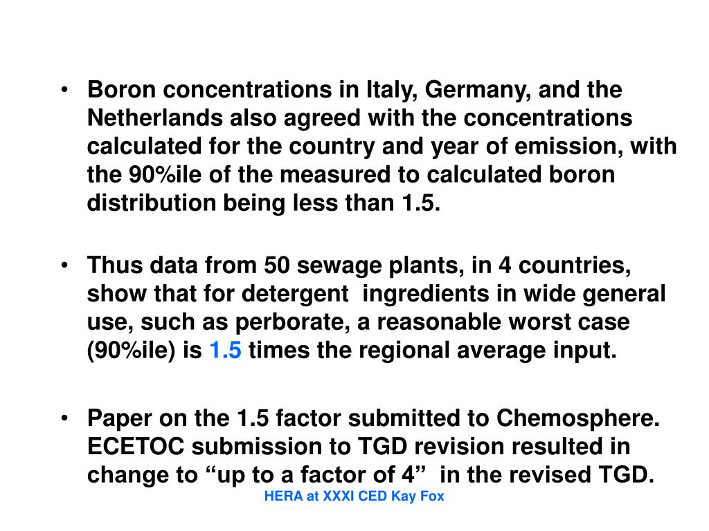 Boron concentrations in Italy, Germany, and the Netherlands also agreed with the concentrations calculated for the country and year of emission, with the 90%ile of the measured to calculated boron distribution being less than 1.5.