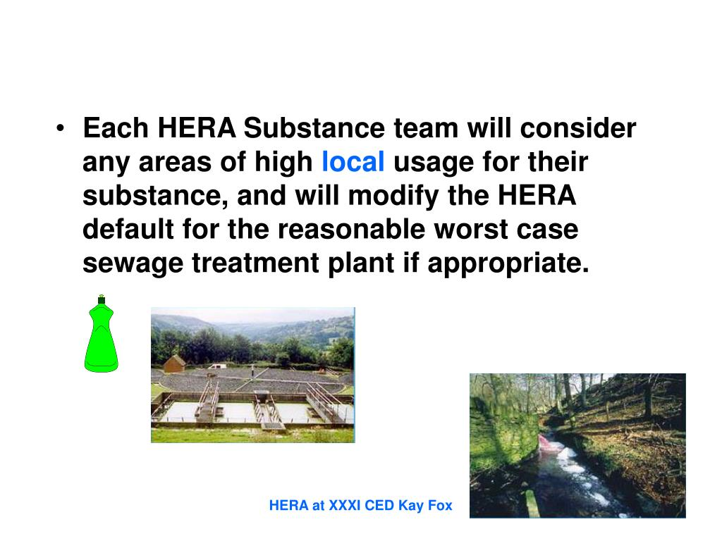Each HERA Substance team will consider any areas of high