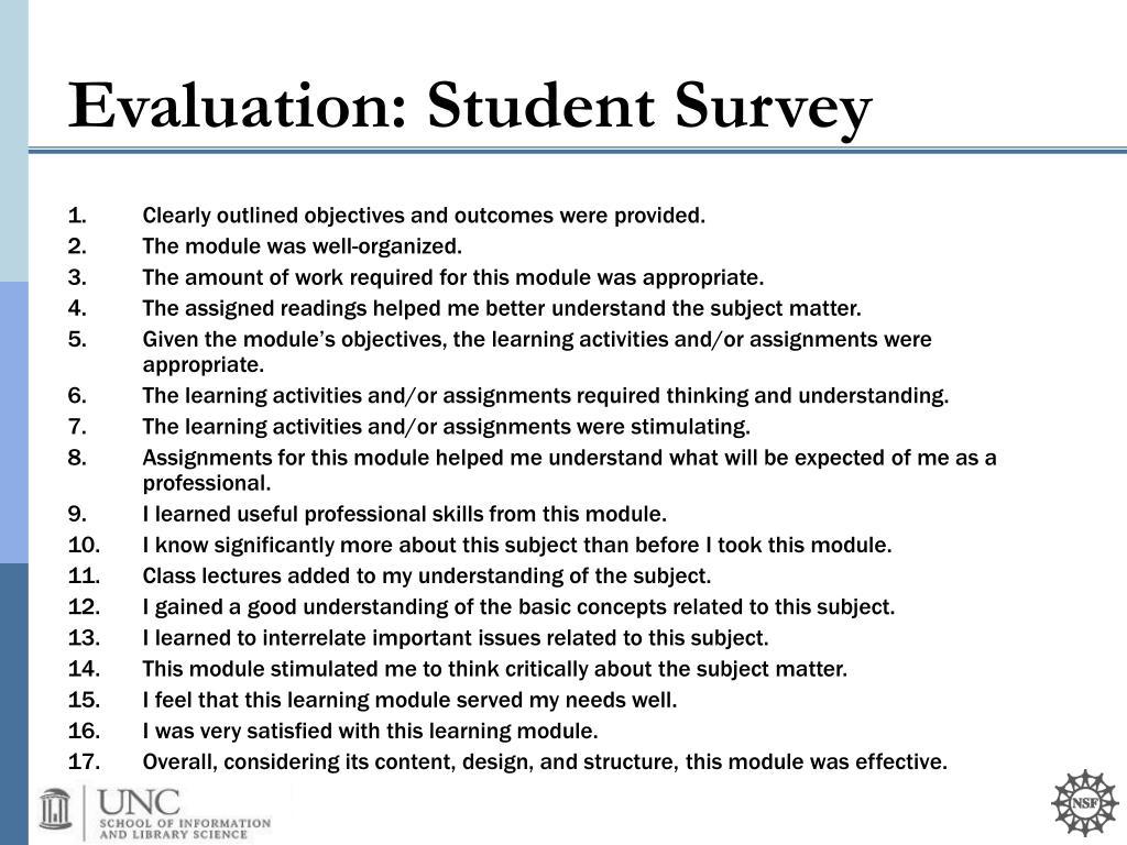 Evaluation: Student Survey