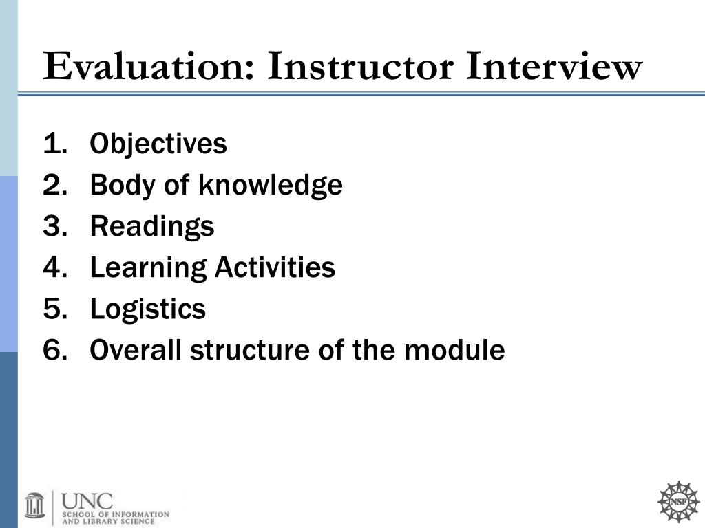 Evaluation: Instructor Interview
