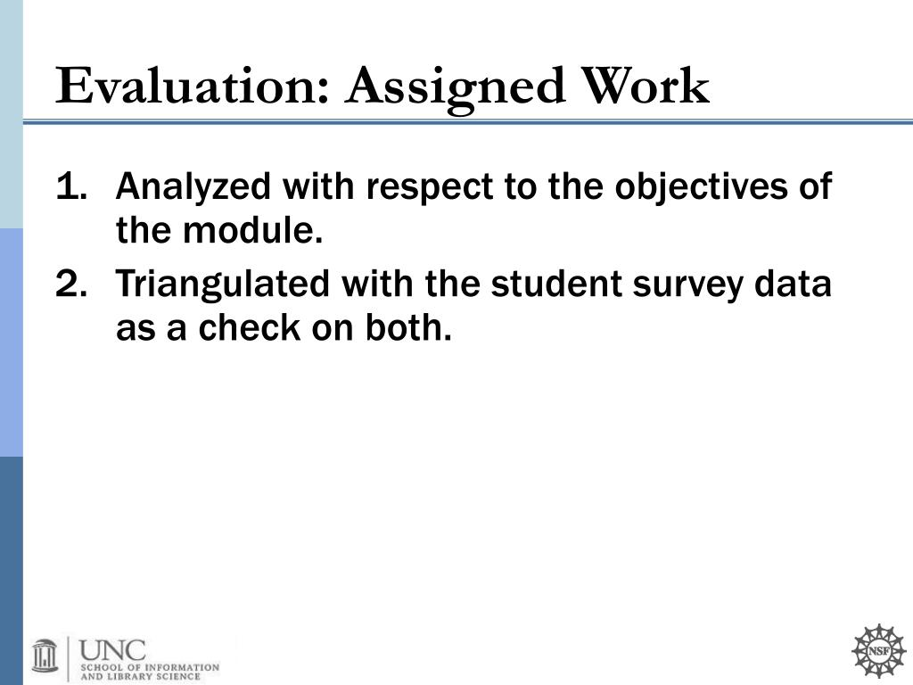 Evaluation: Assigned Work