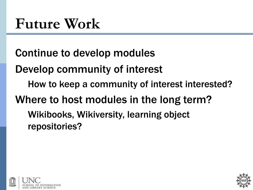 Continue to develop modules