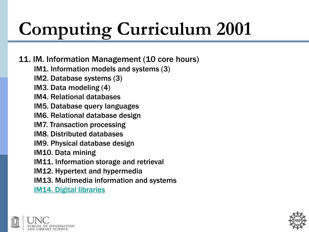11. IM. Information Management (10 core hours)