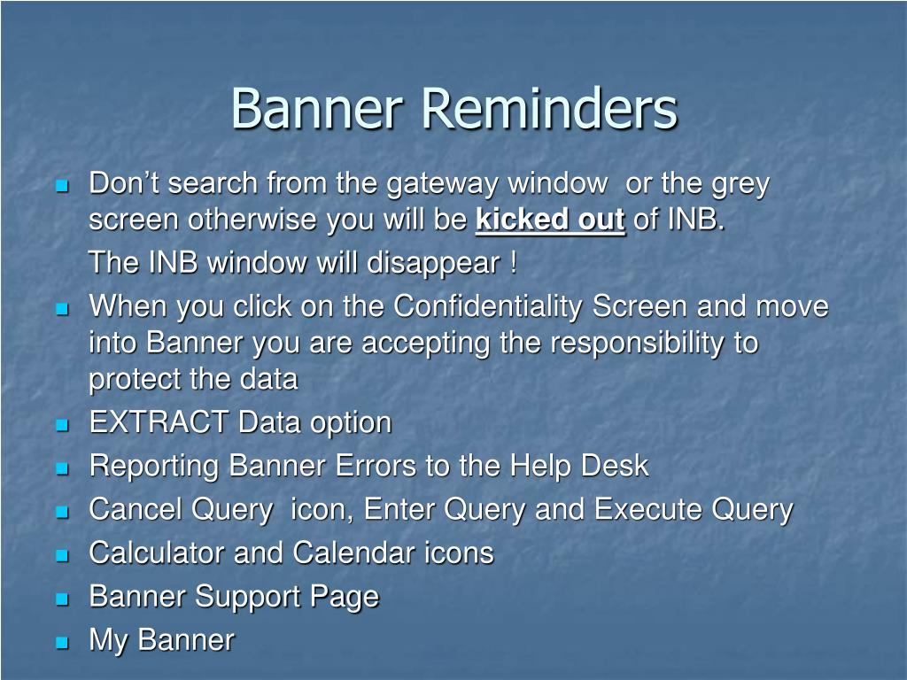 Banner Reminders