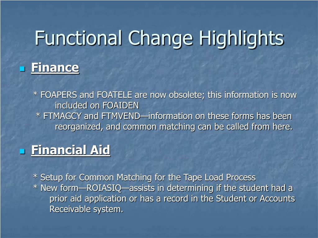 Functional Change Highlights