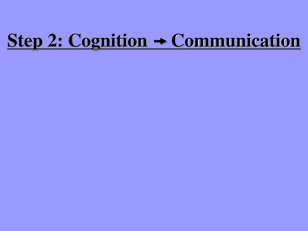 Step 2: Cognition     Communication