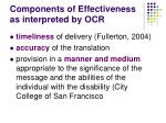 components of effectiveness as interpreted by ocr