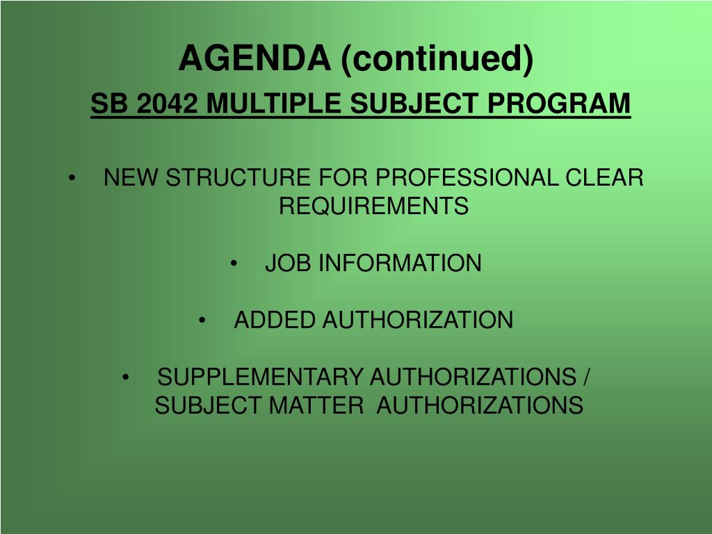 NEW STRUCTURE FOR PROFESSIONAL CLEAR REQUIREMENTS