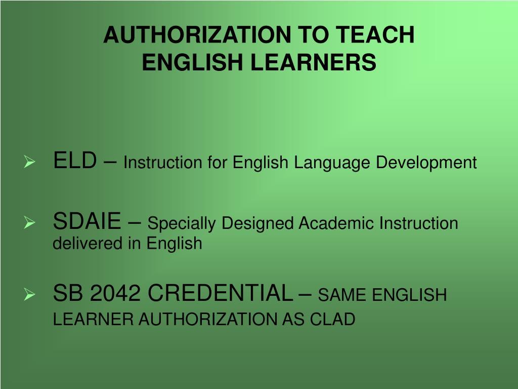 AUTHORIZATION TO TEACH