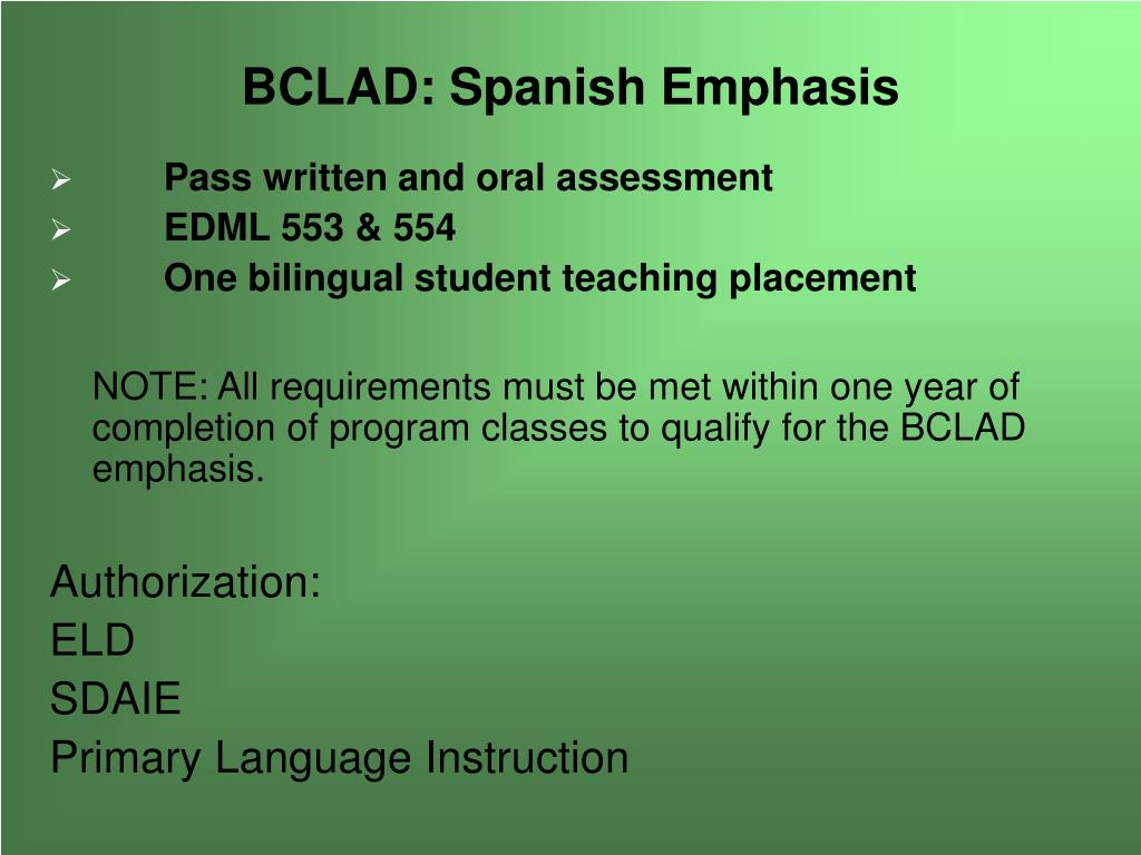 BCLAD: Spanish Emphasis