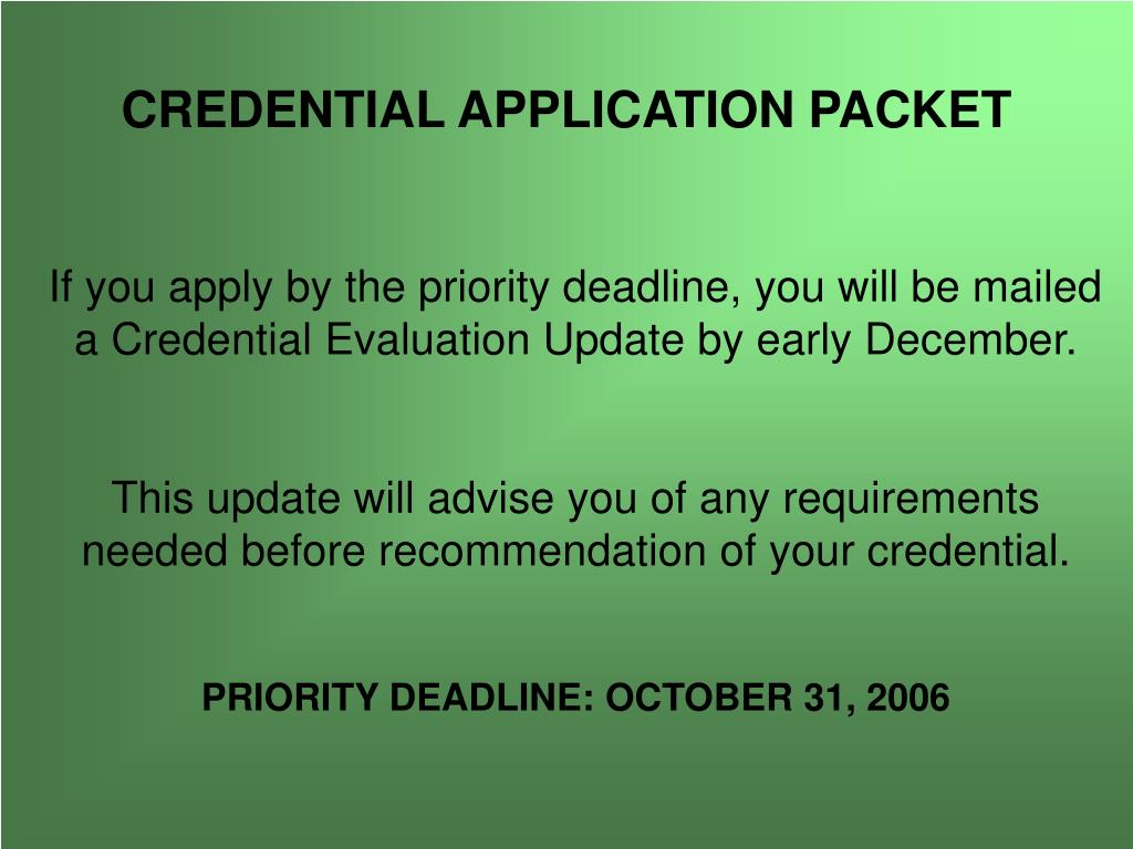 CREDENTIAL APPLICATION PACKET