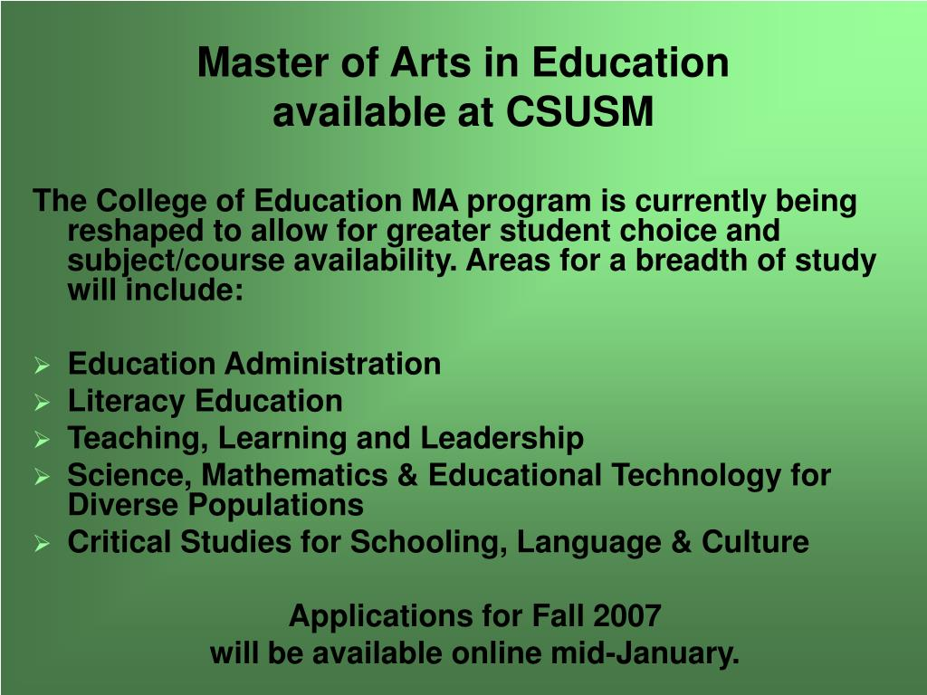 Master of Arts in Education