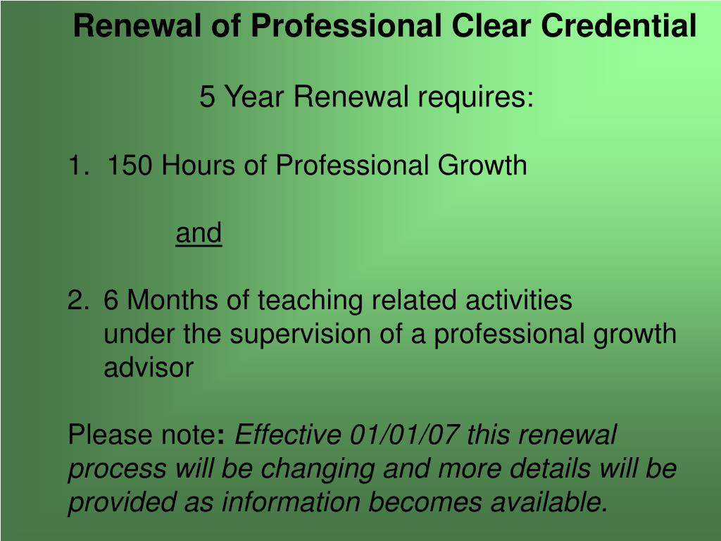 Renewal of Professional Clear Credential