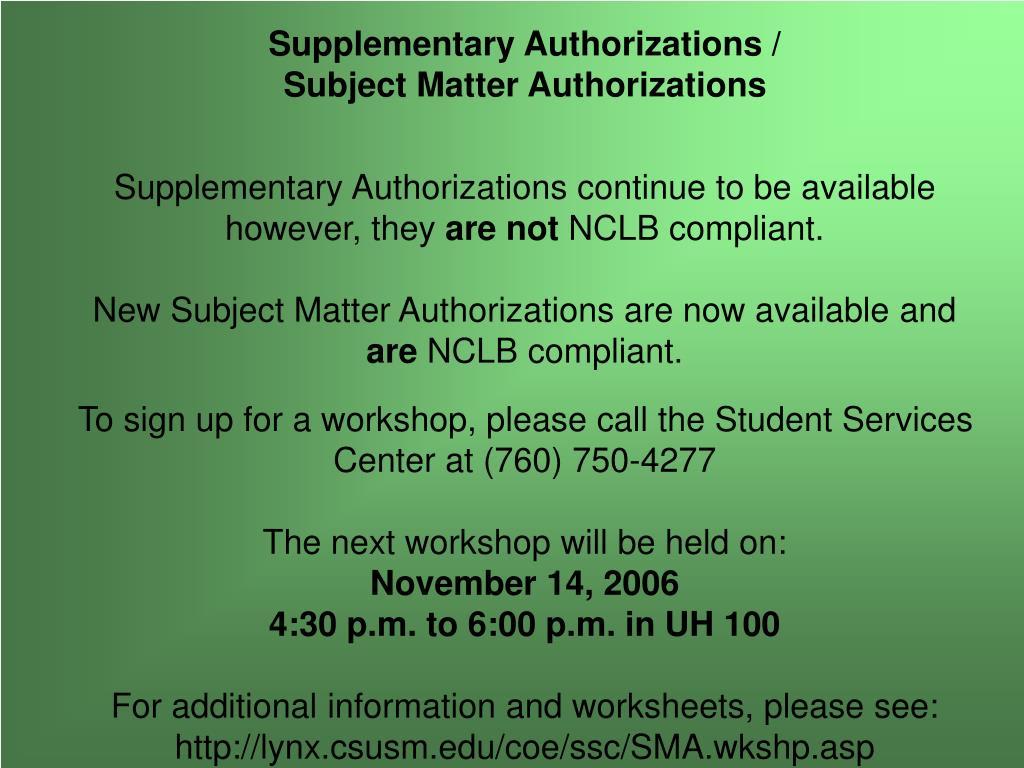 Supplementary Authorizations /