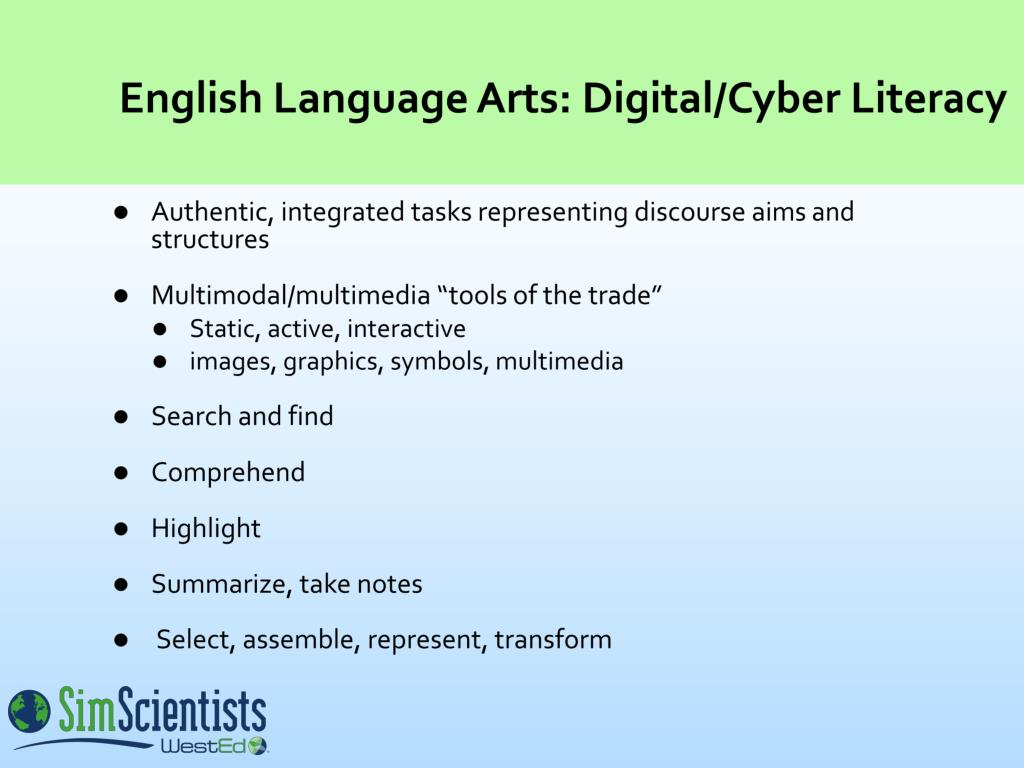 English Language Arts: Digital/Cyber Literacy