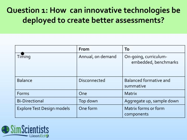 Question 1 how can innovative technologies be deployed to create better assessments3 l.jpg