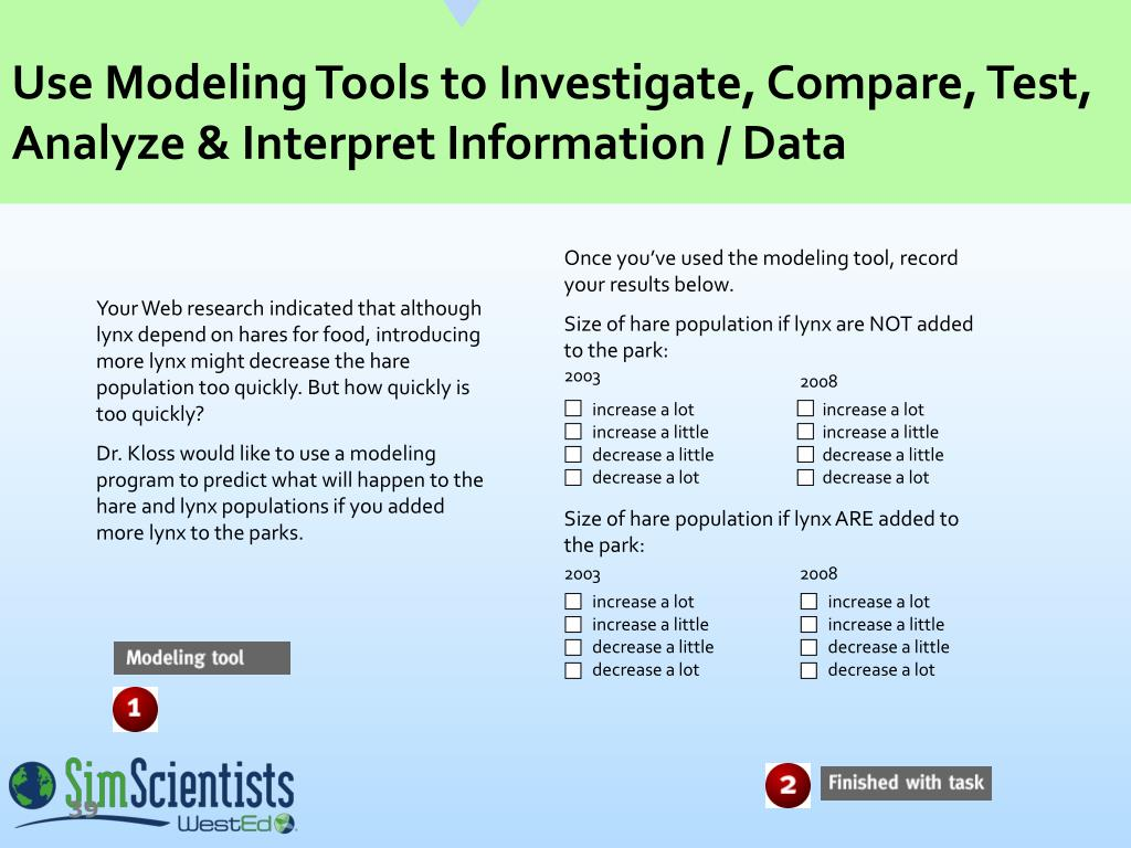 Use Modeling Tools to Investigate, Compare, Test, Analyze