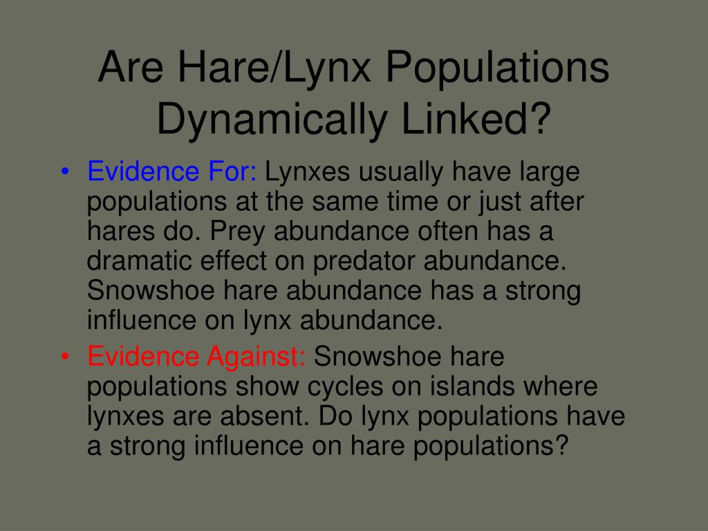 Are Hare/Lynx Populations Dynamically Linked?