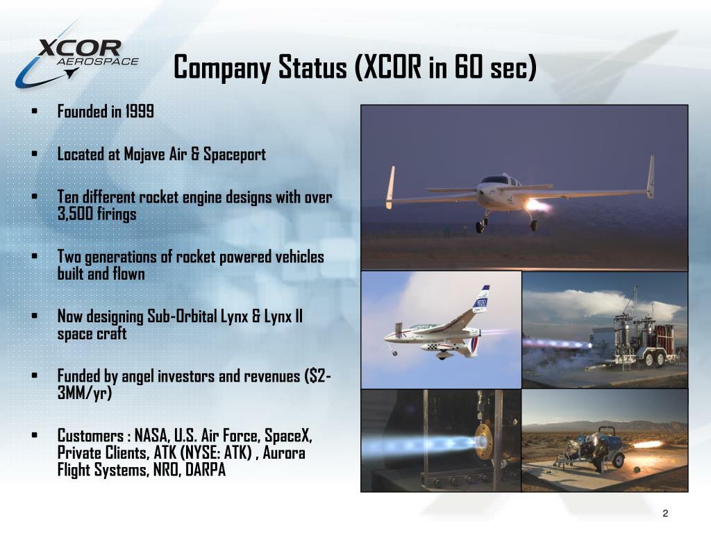 Company Status (XCOR in 60 sec)