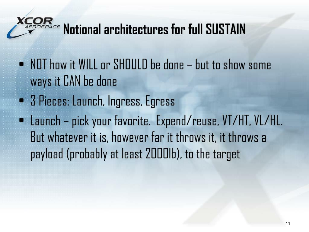 Notional architectures for full SUSTAIN