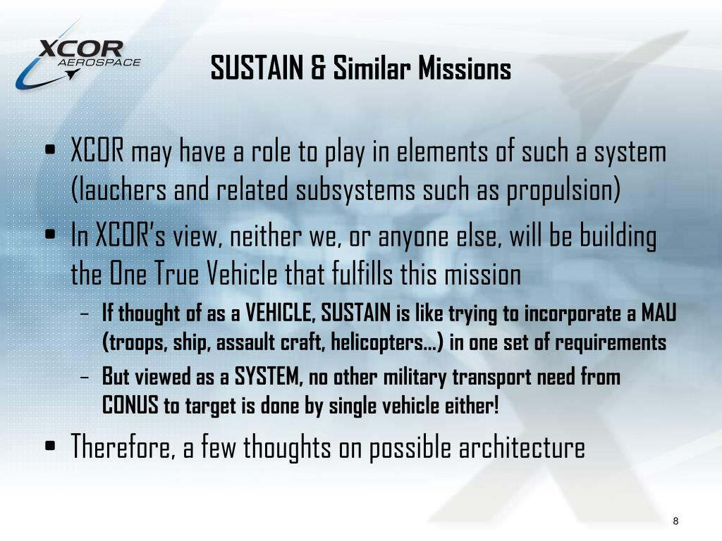 SUSTAIN & Similar Missions