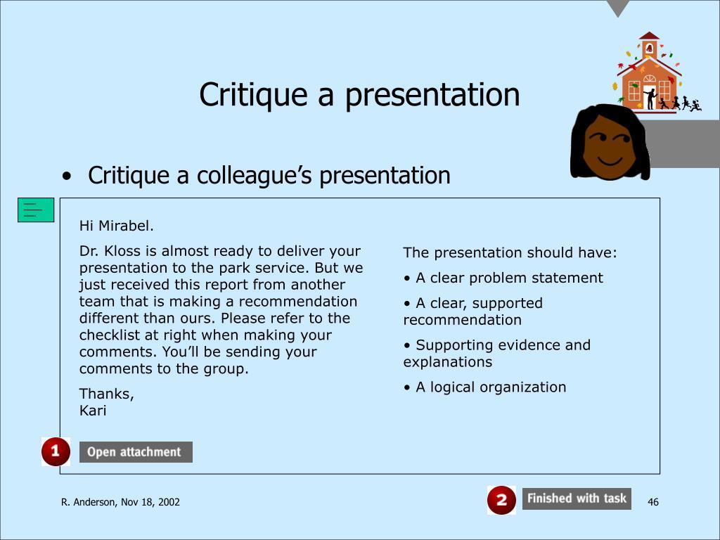 Critique a presentation