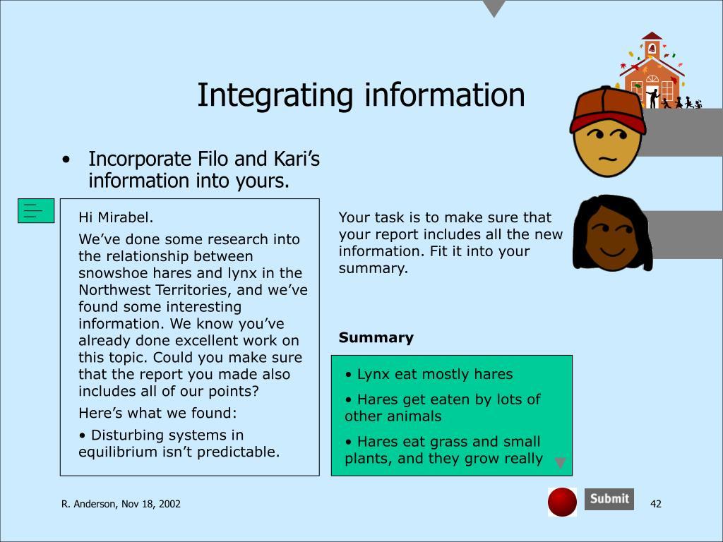 Integrating information