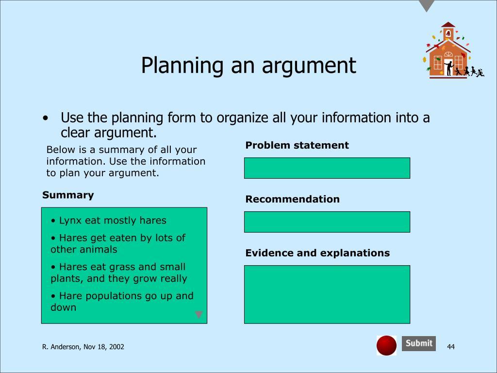 Planning an argument