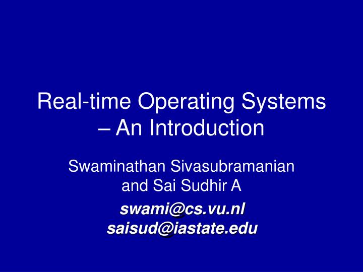 Real time operating systems an introduction