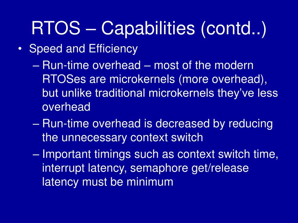 RTOS – Capabilities (contd..)