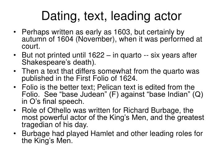 Dating, text, leading actor