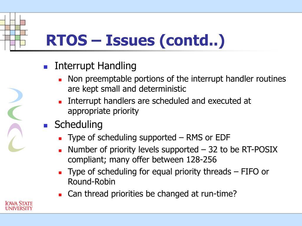 RTOS – Issues (contd..)