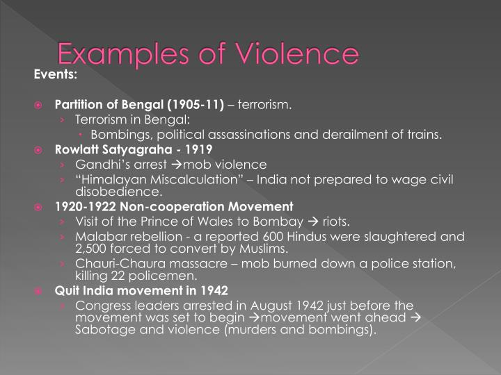 Examples of Violence