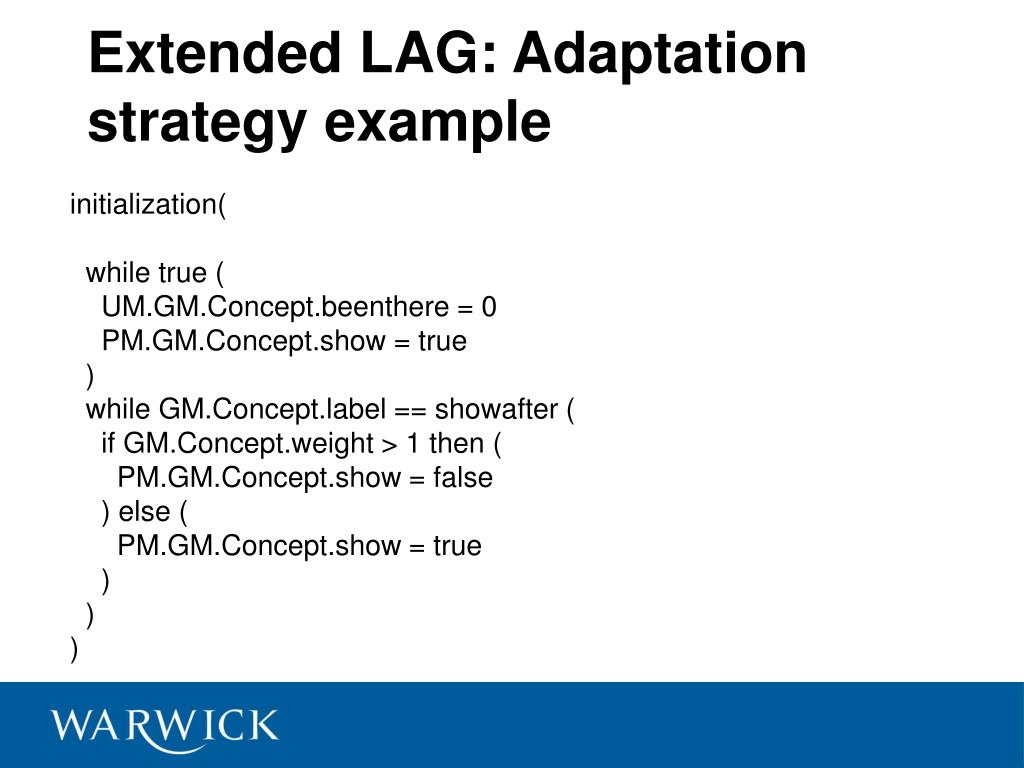 Extended LAG: Adaptation strategy example