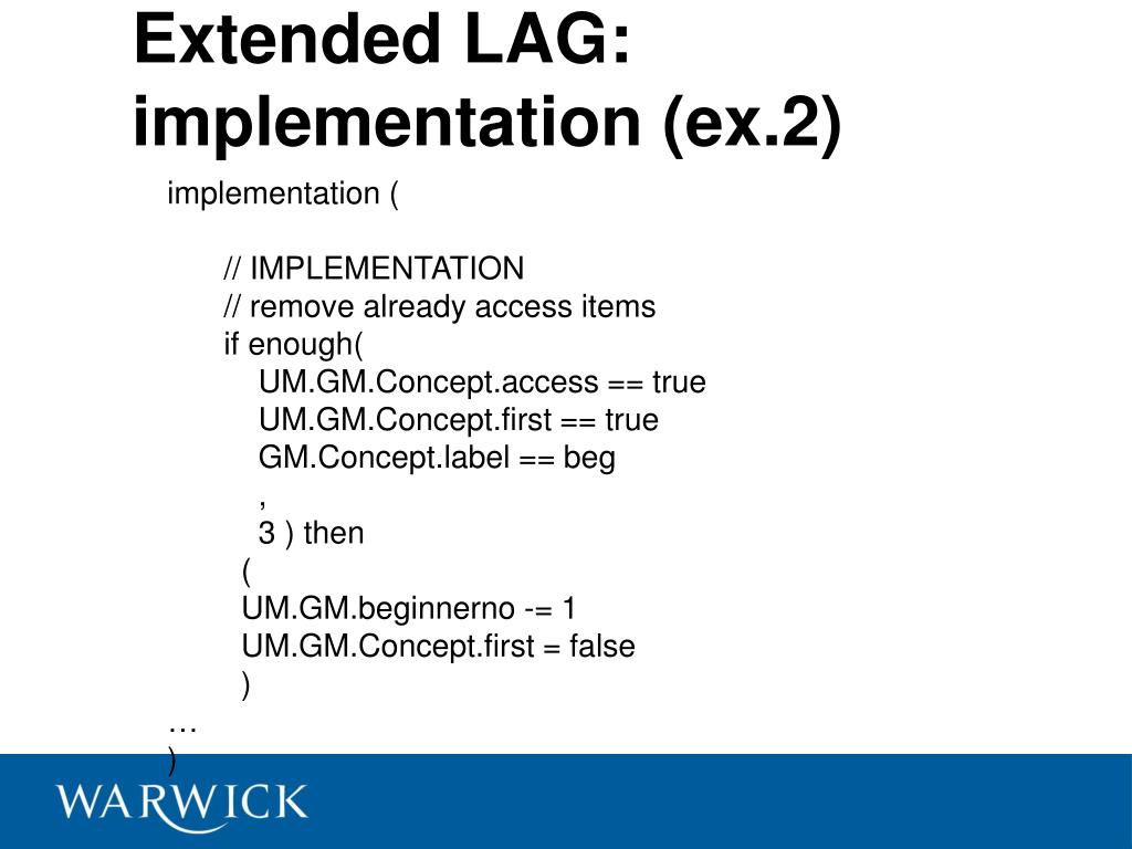 Extended LAG: implementation (ex.2)