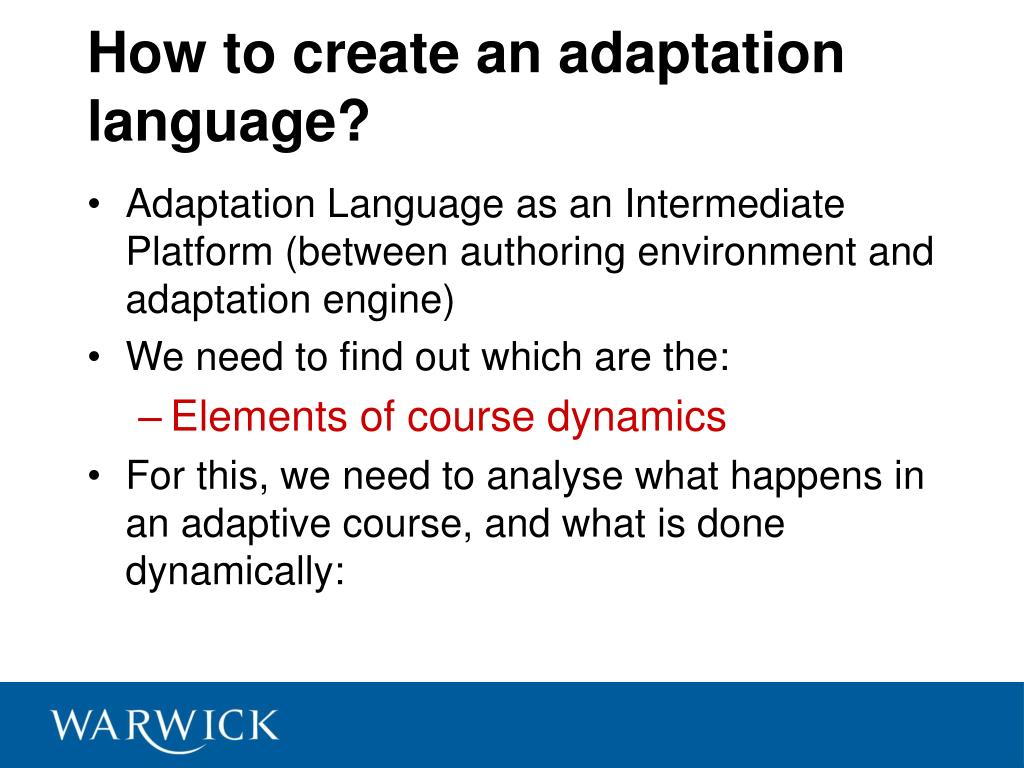 How to create an adaptation language?