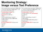 monitoring strategy image versus text preference