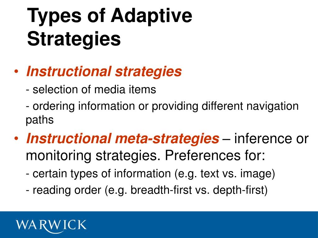 Types of Adaptive Strategies