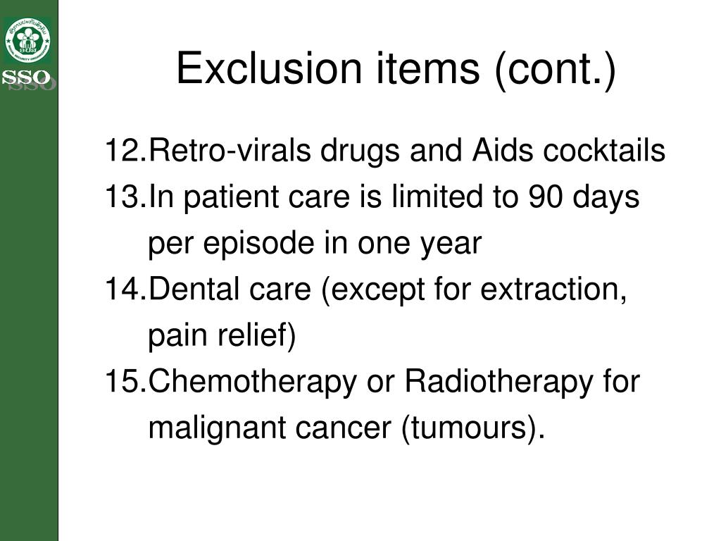 Exclusion items (cont.)