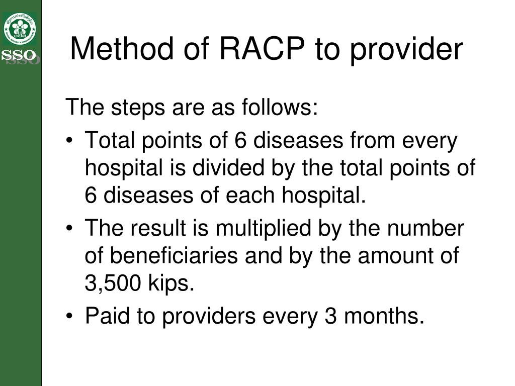 Method of RACP to provider