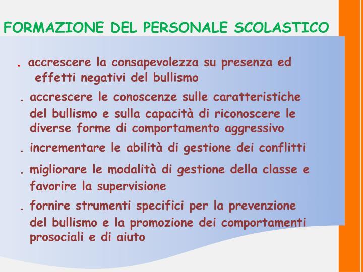 FORMAZIONE DEL PERSONALE SCOLASTICO