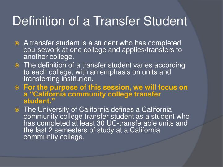Ppt the community college transfer track a positive for Bachelor definition