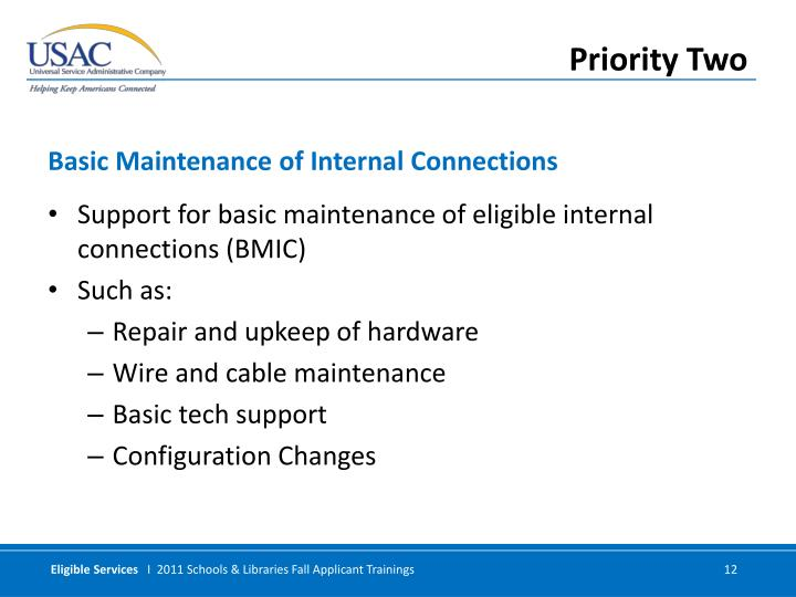 Support for basic maintenance of eligible internal connections (BMIC)