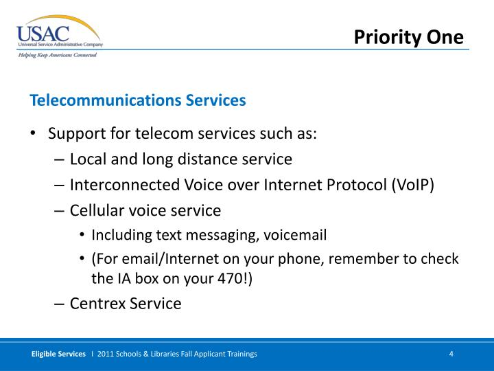 Support for telecom services such as: