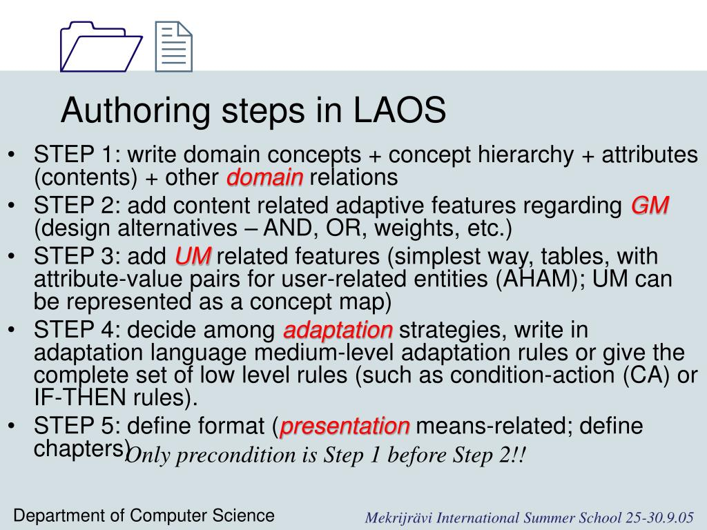 Authoring steps in LAOS